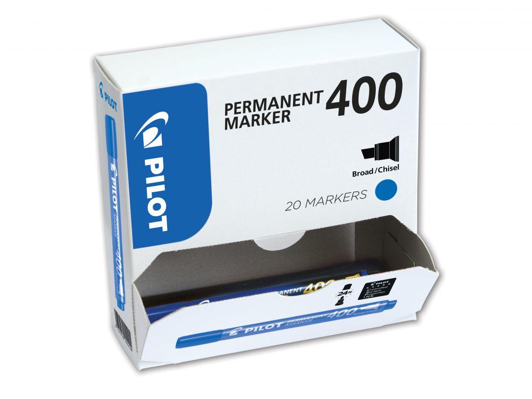 Permanent Marker 400 - Popisovač - XXL balenie - Modrá  - Široký Hrot (B)