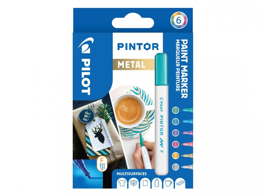 Pilot Pintor - Súprava 6 ks - Metalické farby - Tenký Hrot (F)