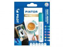 Pilot Pintor - Súprava 6 ks - Metalické farby - Stredný Hrot (M)
