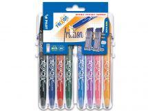 FriXion Ball - Set2Go s 8 Kusy - čierna, modrá, červená, zelená, nebeská modrá, lila, korálová ružová, marhuľová oranžová - Stredný Hrot (M)