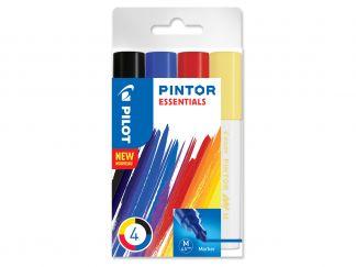 Pilot Pintor - Súprava 4 ks - Mix farieb - Stredný Hrot (M)