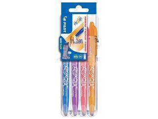 FriXion Ball - Set2Go s 4 Kusy - nebeská modrá, lila, korálová ružová, marhuľová oranžová - Stredný Hrot (M)