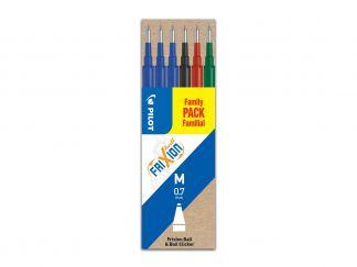 FriXion Ball - Súprava 6 ks náplní - čierna, modrá, červená, zelená - Stredný Hrot (M)