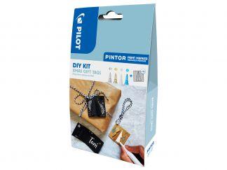 Pilot Pintor - DIY sada s visačkami na darčeky - strieborna, zlatá, biela a metalická modrá - Tenký Hrot (F)