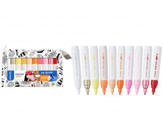 Pilot Pintor - Moja paleta farieb, sada 10 farieb - teplé farby - Stredný Hrot (M)